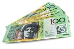 Australian Money over White. Australian money fanned over white background. One hundred dollar bills royalty free stock photos