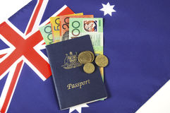Australian Money with Passport. Royalty Free Stock Photos