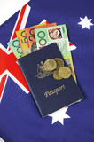 Australian Money with Passport. Royalty Free Stock Photo