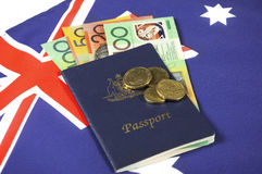 Australian Money with Passport. Royalty Free Stock Images