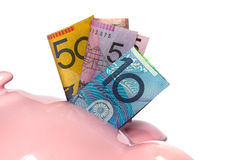 Australian Money in Piggybank Royalty Free Stock Photos