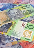 Australian money selection. Australian Polymer notes filling the whole frame with focus on the closest $100 note. Copyspace royalty free stock photo