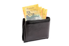 Australian Money in Wallet. Collection of Australian fifty dollar currency notes in a black male wallet Royalty Free Stock Photos