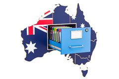 Australian national database concept, 3D rendering. Isolated on white background Royalty Free Stock Photos