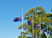 The Australian national flag half-mast Royalty Free Stock Images