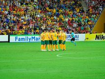 Australian National Football Team Huddle Royalty Free Stock Image
