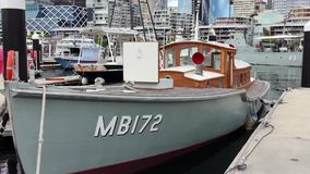 Australian National maritime Museum, Sydney, Australia. Floating exhibit historical boats at the Australian National Maritime Museum, Pyrmont Bay, Sydney harbour stock video footage