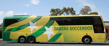 Australian National Soccer Team Bus. Waiting for the team to depart royalty free stock images