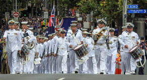Australian Navy orchestra. In a parade for Australia day on Swanston street in Melbourne on 26/01/2017 Royalty Free Stock Images