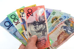 Australian and New Zealand Dollar banknotes Royalty Free Stock Images