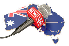 Australian News concept, microphone news on the map of Australia Royalty Free Stock Image