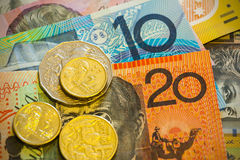 Australian notes and coins Royalty Free Stock Photo
