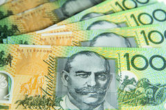 Australian 100.00 notes. A group of $100 Australian notes with a shallow depth of field, foreground in focus. Copyspace Royalty Free Stock Photography