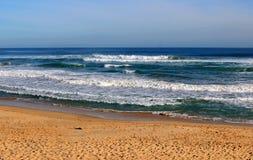Australian ocean landscape. Big ocean waves and sandy beach, Bass Strait, Australia Royalty Free Stock Photos