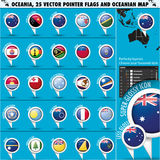 Australian, Oceania Round Pointer Flag and map Stock Photography