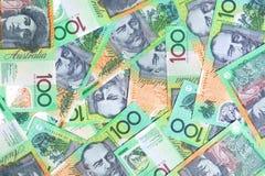 Australian One Hundred Dollar. Notes make a full-frame background Royalty Free Stock Photo