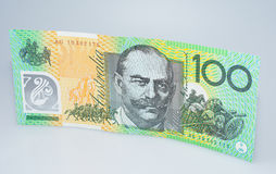 Australian One Hundred  Dollar Banknote Standing. Australian One Hundred Dollar Banknote Standing Sir John Monash Side Royalty Free Stock Images