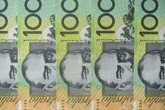 Australian one hundred dollar bills circle pattern. On white background Royalty Free Stock Photo