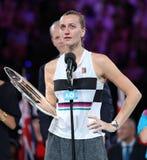 Australian Open-Finalist 2019 Petra Kvitova der Tschechischen Republik während der Preisverleihung nach ihrem Endspiel lizenzfreie stockbilder