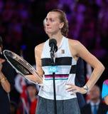 Australian Open-Finalist 2019 Petra Kvitova der Tschechischen Republik während der Preisverleihung nach ihrem Endspiel stockfotografie