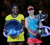 Australian Open 2016 finalist Serena Williams L and Grand Slam champion Angelique Kerber of Germany during trophy presentation Royalty Free Stock Photos