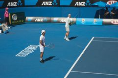 Australian Open Tennis, doubles. Australian Open Tennis tournament, famous top seeded tennis players doubles Royalty Free Stock Photos
