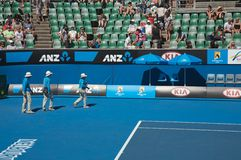 Australian Open Tennis, empires. Australian Open Tennis tournament, three empires in the Melbourne tennis court Royalty Free Stock Photo