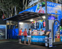 Australian Open tennis. People shop at the Australian Open tennis official merchandise shop Stock Images