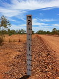 Australian Outback dry river bed depth gauge drought summer  Stock Photography