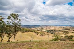 Australian outback landscape with hills and paddocks. Australian outback landscape with trees and dry grass on sunny day. Nature background Stock Image