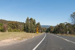 Australian outback road with wildlife signs of kangaroo and womb. Australian outback road with attention to wildlife signs with kangaroo and wombat. Australian stock photos