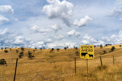 Australian outback with Stock Ahead road sign Stock Images