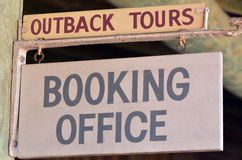 Australian Outback. Tours booking office. Sign and symbol. travel concept Stock Photography