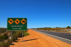 Australian outback. And wildlife area road sight Royalty Free Stock Photos