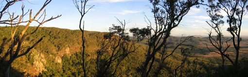Australian Panorama. A lookout out to the outback of Australia on the west side of the Great Dividing Mountain Range. On the east side is lush rainforest Stock Photos