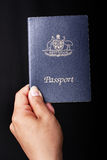 Australian Passport. On black background Stock Photo