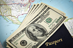 Australian passport and banknotes Royalty Free Stock Images