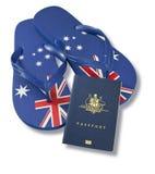 Travel Australian Passport Flag Thongs Royalty Free Stock Photos