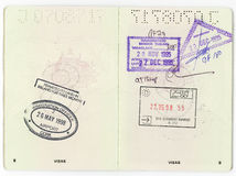 Australian Passport Pages. Hobart, Australia-September 6, 2016. Interior pages of an Australian passport with various country stamps Stock Image