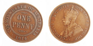 Australian Penny pre-decimal 1914 Scarce cope coin. Australian 1914 Penny pre-decimal scarce coper coin on isolated white background Royalty Free Stock Image