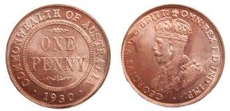 Australian Penny pre-decimal 1930 Rare coin. Australian 1930 Penny pre-decimal rare coper coin on isolated white background stock photo