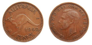 Australian Penny pre-decimal 1942. Australian Penny pre-decimal coper coin on isolated white background stock photo