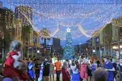 Australian people celebrate Christmas in Brisbane Queensland Australia stock photos