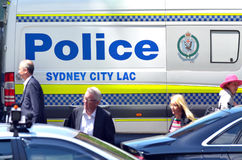 Australian people pass by Sydney Police vehicle in Sydney New So stock image