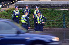 Australian Police. MELBOURNE, AUS - APR 14 2014:Victoria Policemen.As of 2013, Victoria Police has over 12,539 sworn members across 325 police stations.It has a stock photos