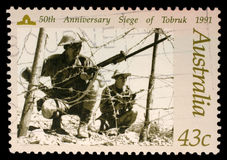 Australian postage stamp depicting 50-th anniversary siege of Tobruk Royalty Free Stock Image