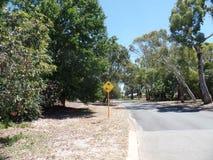 Australian province road sign eucalyptus. Australian nature province road sign ducks Australia Mandurah kangaroo eucalyptus Stock Photo