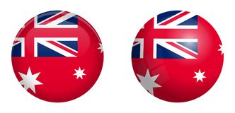 Australian red ensign flag under 3d dome button and on glossy sphere / ball.  vector illustration