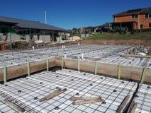 Australian residential footing slab construction incorporating polystyrene waffle pod design. Australian residential slab for a dwelling home detailing Stock Photo