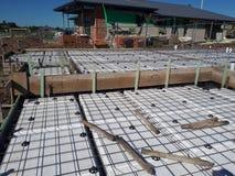 Australian residential footing slab construction incorporating polystyrene waffle pod design. Australian residential slab for a dwelling home detailing Royalty Free Stock Photos